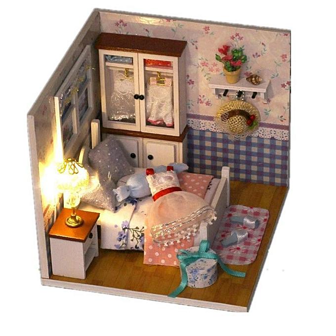 Autre Miniature de maison de poupée en bois de bricolage avec chambre à coucher iiecreate M-002 avec la couverture de meubles à LED à prix pas cher