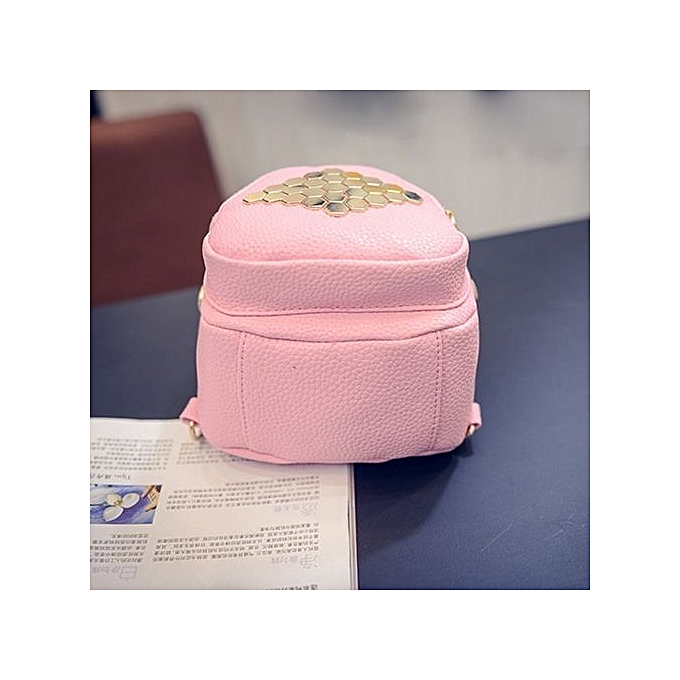 nouveauorldline femmes cuir Hexagonal Rivets Solid Couleur Simple sacsvoyage sacs sac à dos PK B-rose à prix pas cher