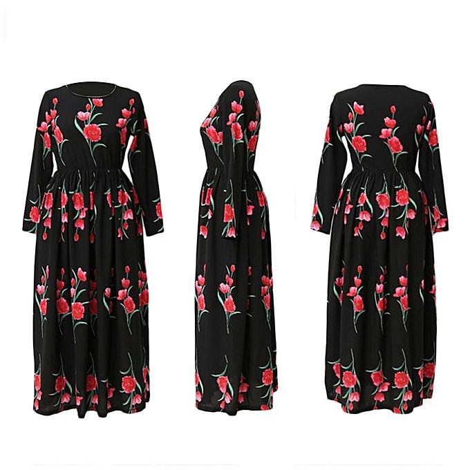 Generic TB modeable Rose Printed Muslim Abaya Elegant Robe Long Robes femmes Clothing-noir à prix pas cher