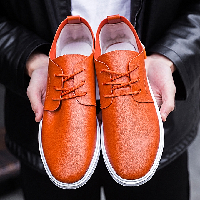 Other New Stylish Spring Breathable Leather Men's chaussures Leisure Students'skid-proof Working chaussures-Orange à prix pas cher