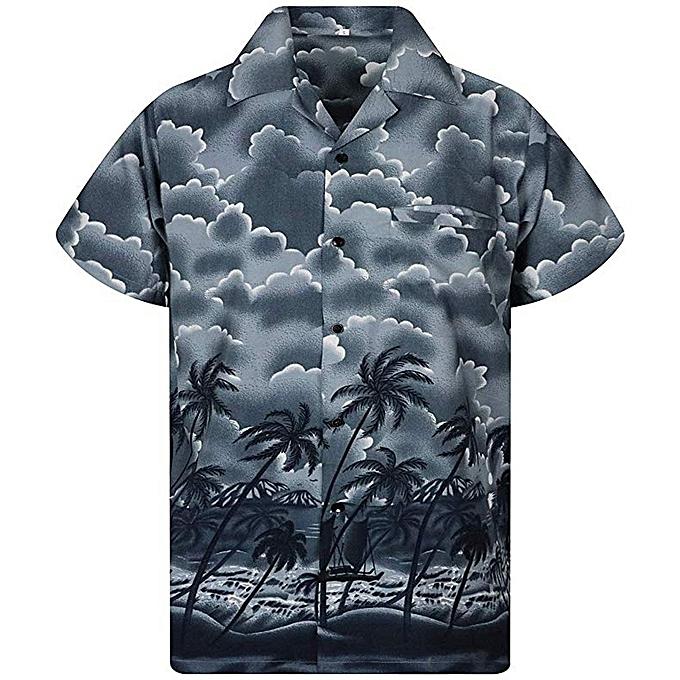 mode whiskyky store Hommes& 039;s été Décontracté Button Hawaii Print plage manche courte Quick Dry Top chemisier à prix pas cher