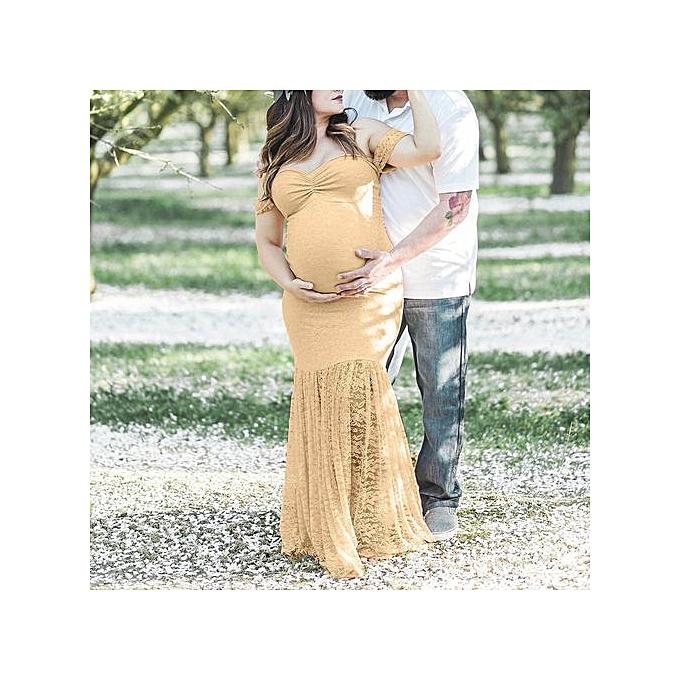 Fashion Tectores femmes Pregnants Sexy Photography Props Off Shoulders Lace Nursing Long Dress à prix pas cher