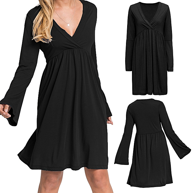 Generic Xiuxingzi femmes Casual Solid V-Neck Long Flare Sleeved Ruffled High-Waist Pleated Dress à prix pas cher