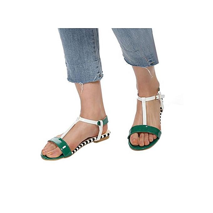 Fashion Jiahsyc  Store femmes Summer Round Toe Breathable Peep-Toe Beach Sandals Rome Casual Flat chaussures-vert à prix pas cher