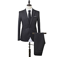 Men Slim Fit Business Leisure One Button Formal Two-Piece Suit For Groom  Wedding- 926da500ff3