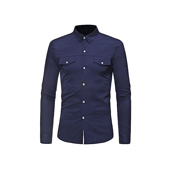 AFankara Faux Pockets Solid Couleur manche longue Shirt - bleu à prix pas cher