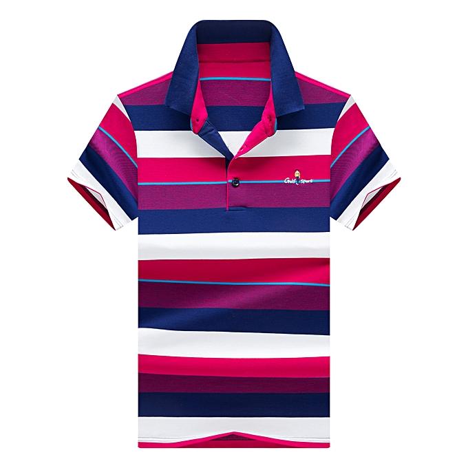 mode Hommes& 039;s Lapel rayé manche courte Polo Shirt-navy bleu à prix pas cher