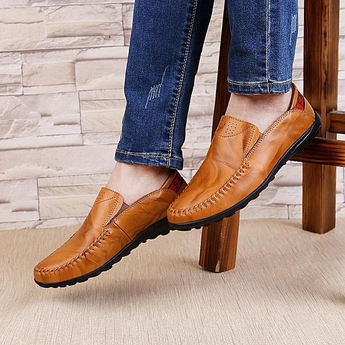 Fashion Fashion  Big Size   Fashion Genuine Leather Comfortable Slip On Business Casual Flat Loafers Shoes-EU à prix pas cher  | Jumia Maroc 0f7017