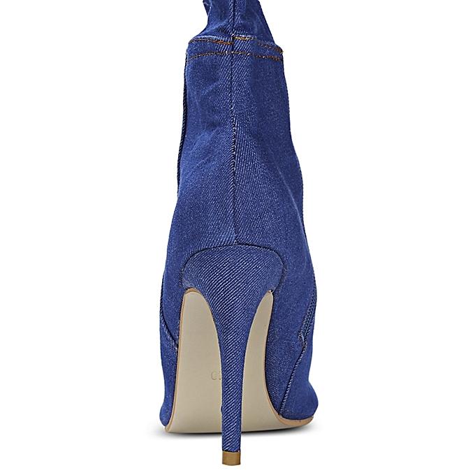 Fashion Female Trendy Broken Denim Tube Peep Toe Toe Peep Thin High-heeled Over-knee Boots à prix pas cher    Jumia Maroc b8057e