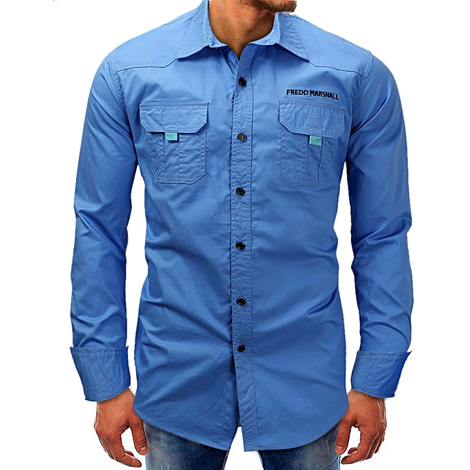 mode Hommes Long-Sleeve Beefy  Button Basic Solid  chemisier Tee Shirt Top -bleu à prix pas cher