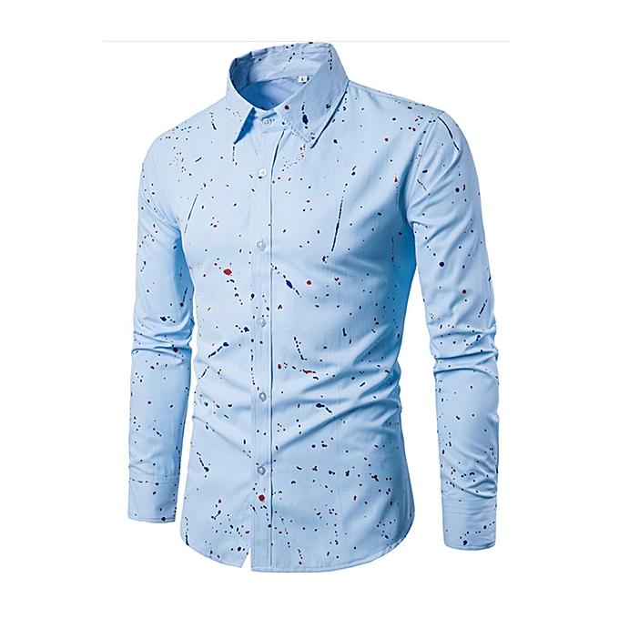 Fashion jiuhap store Men Fashion Long Sleeve Printed Casual Slim Fit Stylish Shirt Blouse BU L à prix pas cher
