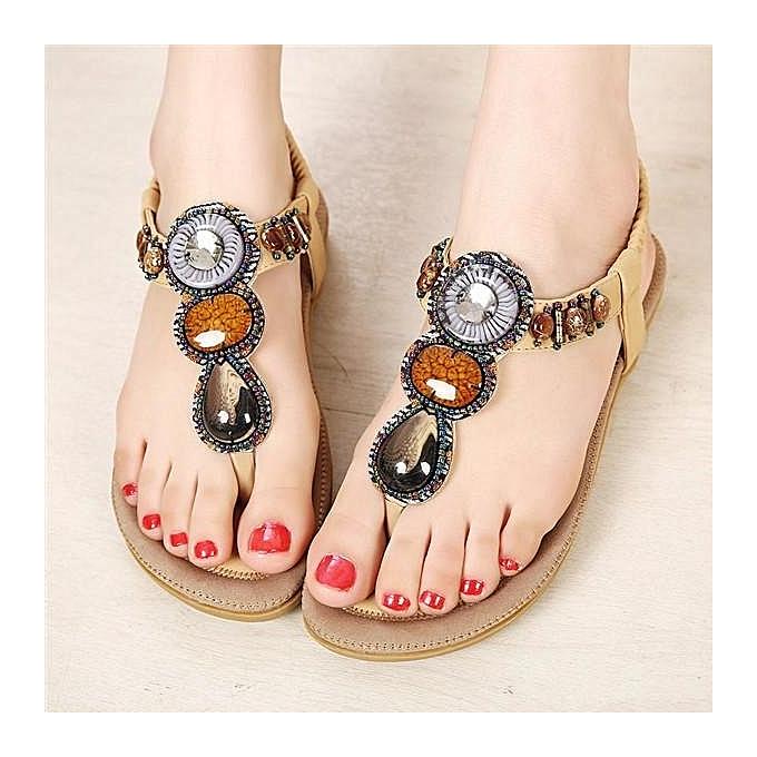 mode femmes été Bohemia Sandals Slippers plage Flip Flops Lady Flat Thong chaussures Apricot-EU à prix pas cher