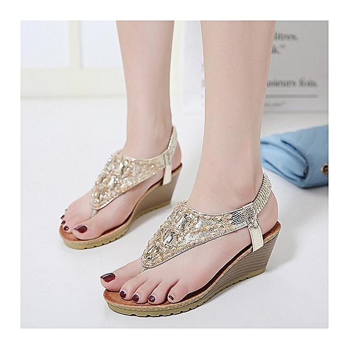 Fashion Fashion femmes Rhinestone Clip Toe Wedges Bohemia Beach PU Leather Sandals 5.5cm à prix pas cher    Jumia Maroc