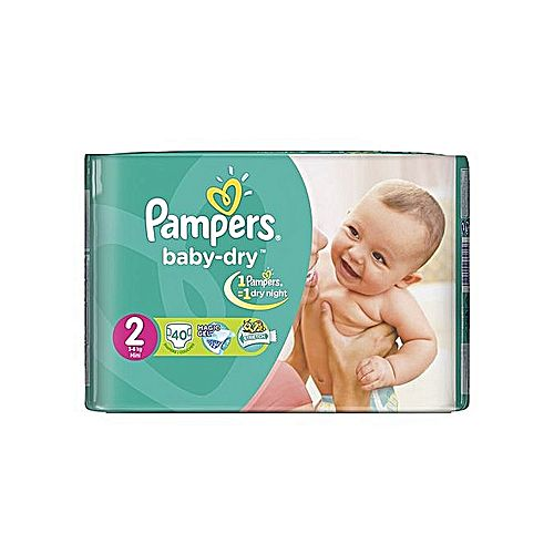 Pampers couches b b baby dry mini taille 2 3 6 kg 40 unit s acheter en ligne jumia - Couches pampers baby dry taille 2 ...