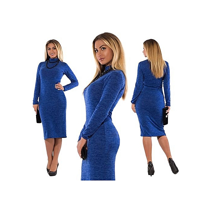 Fashion 5XL 6XL Large Taille 2017 Autumn Winter femmes Dresses Big Taille Casual Long Sleeve Dress Plus Taille femmes Clothing Vestidos-bleu à prix pas cher