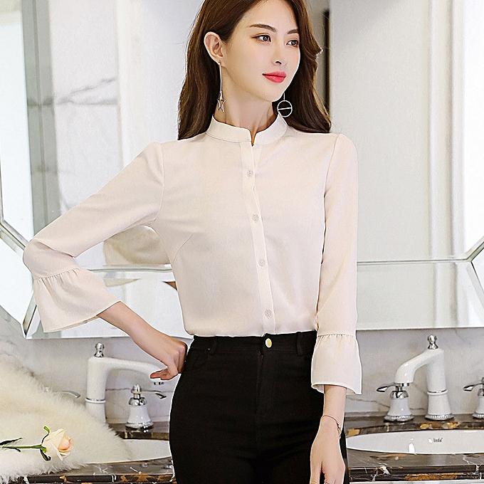 OEM nouveau mode grand Taille was thin solid Couleur shirt wild Décontracté mode femmes& 039;s shirt-blanc à prix pas cher