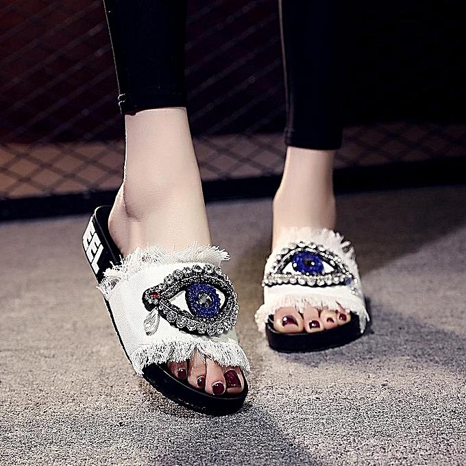 Fashion Spring femmes Ladies Girls Crystal Flat Sandals Slippers Beach chaussures-blanc à prix pas cher    Jumia Maroc