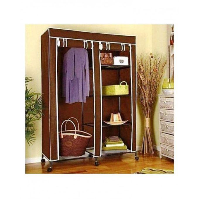 t deco armoire penderie pliable en tissu de rangement transportable marron acheter en ligne. Black Bedroom Furniture Sets. Home Design Ideas