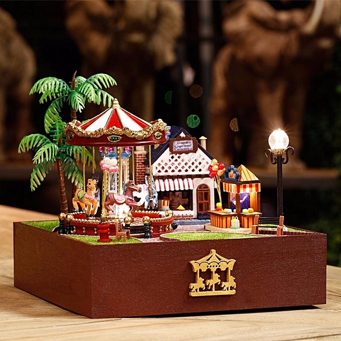 UNIVERSAL Dollhouse Miniature Playground Carousel Model DIY KIT Music Box With Light-Happiness version à prix pas cher
