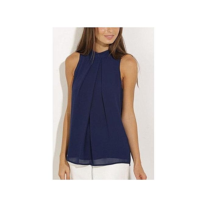 Fashion YOINS Summer femmes New High Fashion Style Clothing Casual Crew Neck Sleeveless Navy bleu Cami Top à prix pas cher