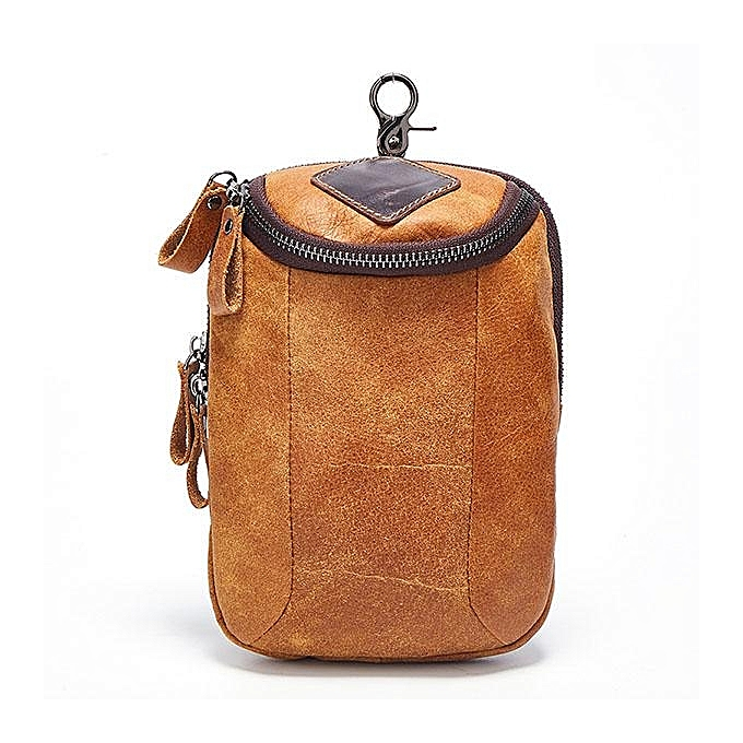Fashion Men Genuine Leather Crossbody Bag Riding Hip Bum Waist Pack Small Messenger Bag with Shoulder Strap  marron à prix pas cher