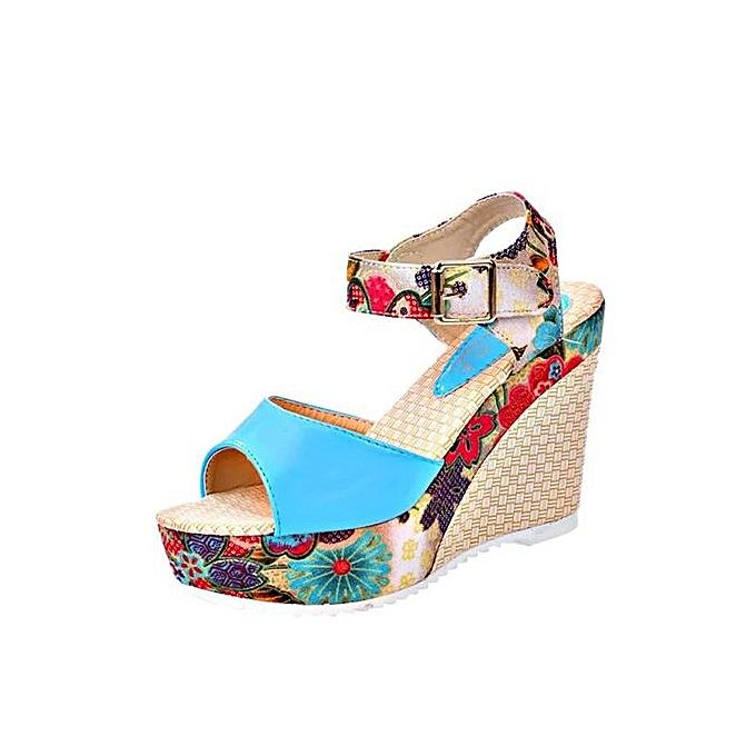 Fashion Hiamok_femmes Fish Mouth Platform talons hauts Wedge  Lace National Style Slope Sandals à prix pas cher
