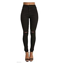2f2548c338cea Hot sale women's skinny jeans high waist elastic cotton jeans thin knee hole  jeans