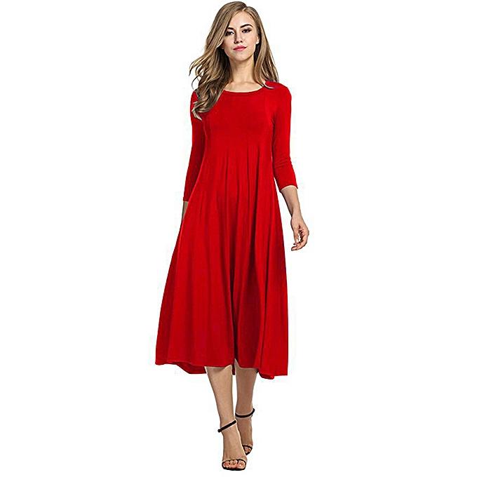 Tauntte femmes& 039;s Décontracté manche longue Robe (rouge) à prix pas cher