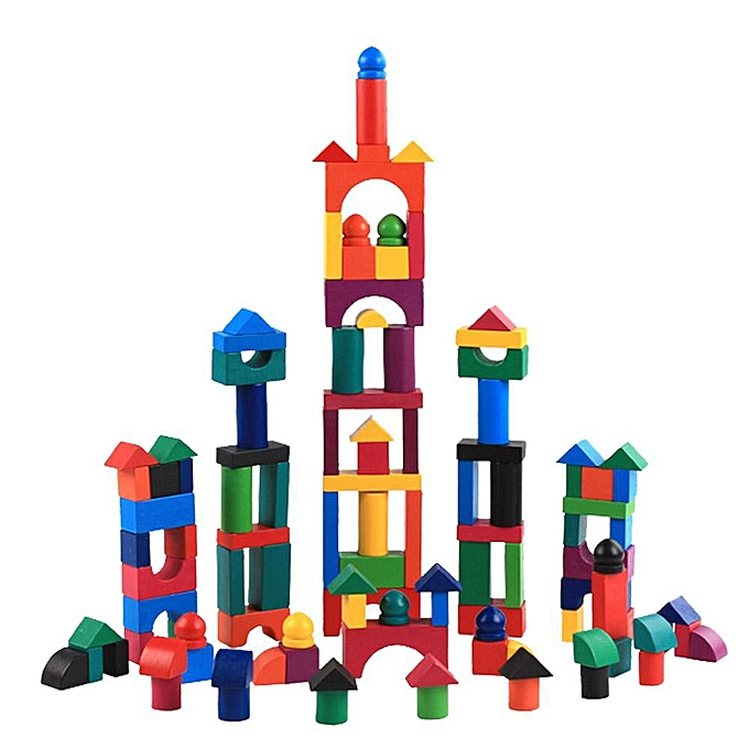 Autre La lumière du ciel 112pcs   Set Couleuré en bois blocs adultes enfants puzzle jeux Domino Trier jouets à prix pas cher