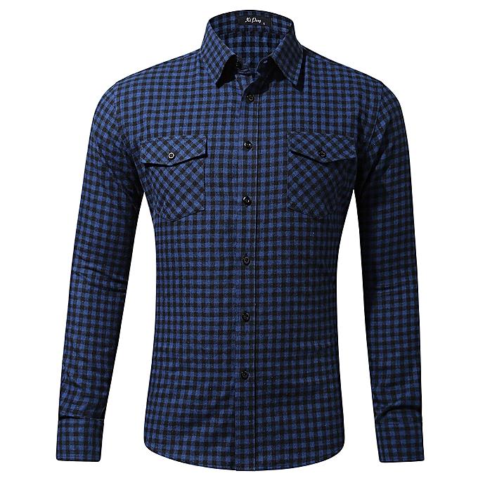 mode Pour des hommes Décontracté mode manche longued Shirt Double Pocket Peu Plaid impression Shirt à prix pas cher