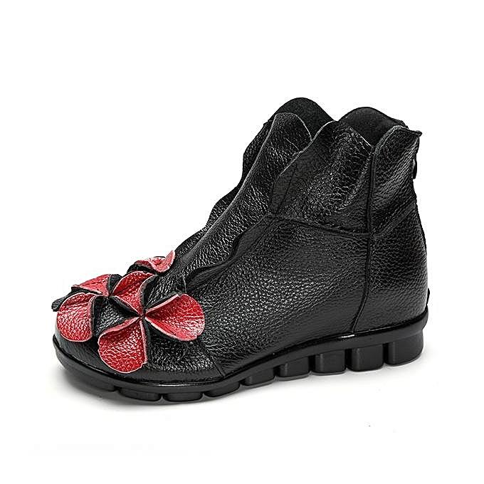 Fashion Fashion SOCOFY WoHommes  Flower Flower  Soft Leather Ankle Vintage Zipper Flat Boots à prix pas cher  | Jumia Maroc 926747