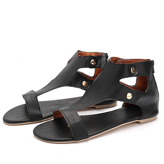 Fashion Fashion femmes Summer Flat Leather Sandals Open Toe Casual chaussures à prix pas cher