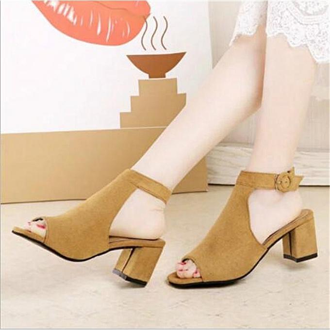 Fashion femmes Low Heel Peep Toe Buckle Mule Ladies Open Back Strap Ankle chaussures bottes à prix pas cher