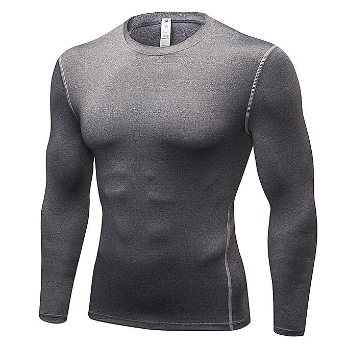 Other mode Hommes& 039;s  manche longue Slim Fit T Shirt Gym Fitness hauts-gris à prix pas cher