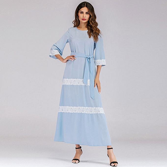 Fashion (Xiuxingzi) femmes Muslim Lace spliced Loose Bell Sleeve Arab Dress Islam Jilbab Dress à prix pas cher