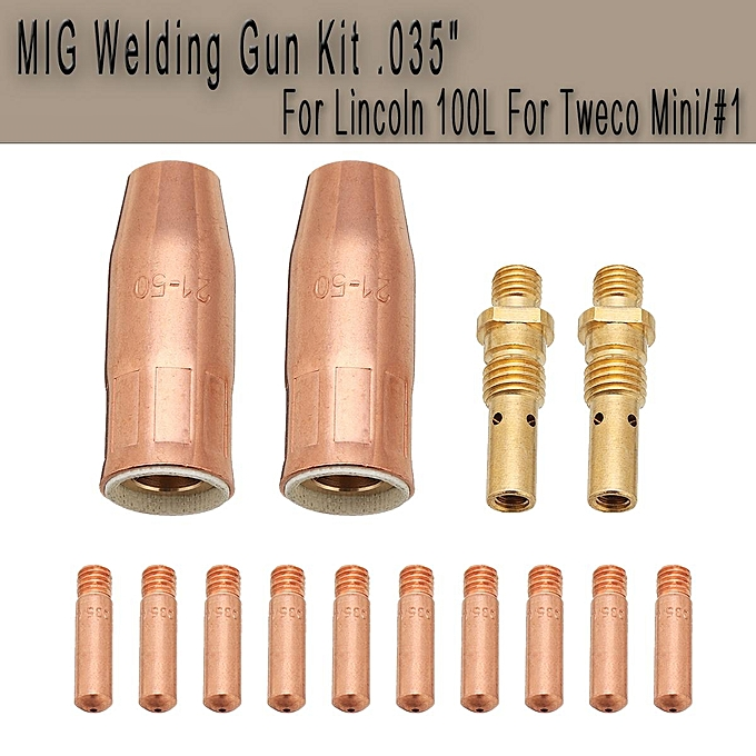 UNIVERSAL MIG Welding G un Kit .035  Nozzle Diffuer Tip For Lincoln Tweco 100L Mini  1 M3 à prix pas cher