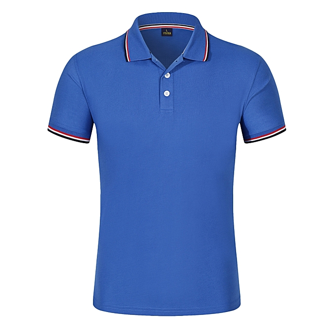 Other Stylish Personality Men Tops Short Sleeve Polo Shirt Slim Fit T Shirt -Dark bleu à prix pas cher