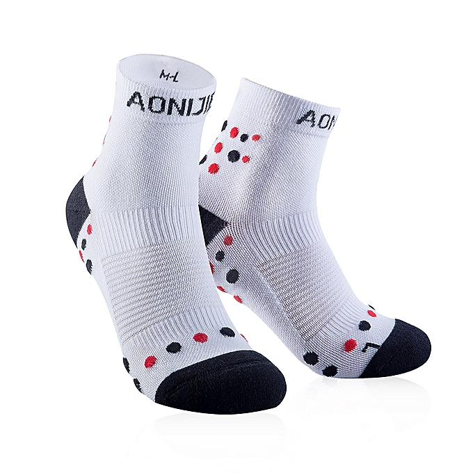 AONIJIE Outdoor Sports Scocks Running Athletic Performance Tab Training Cushion Compression Socks Heel Shield Cycling(blanc)(M) à prix pas cher
