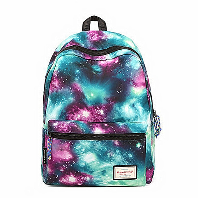 Fashion femmes Girl School Backpack Star Universe Shoulder Bag Bookbag Rucksack Schoolbag   vert à prix pas cher