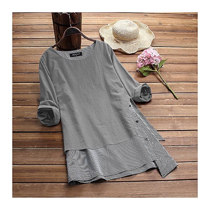 Zanzea femmes Long Sleeve Casual Asymmetrical Hem Blouse Shirt Tops Stripe Splice Tops à prix pas cher