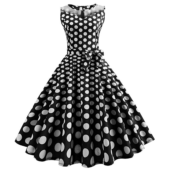 Fashion quanxinhshang femmes Vintage Dot Printing Sleeveless Mesh Patchwork Evening Party Swing Dress à prix pas cher