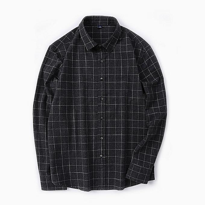 Other Casual Lattice Men Lapel Cotton Long Sleeve Blouse Shirt à prix pas cher