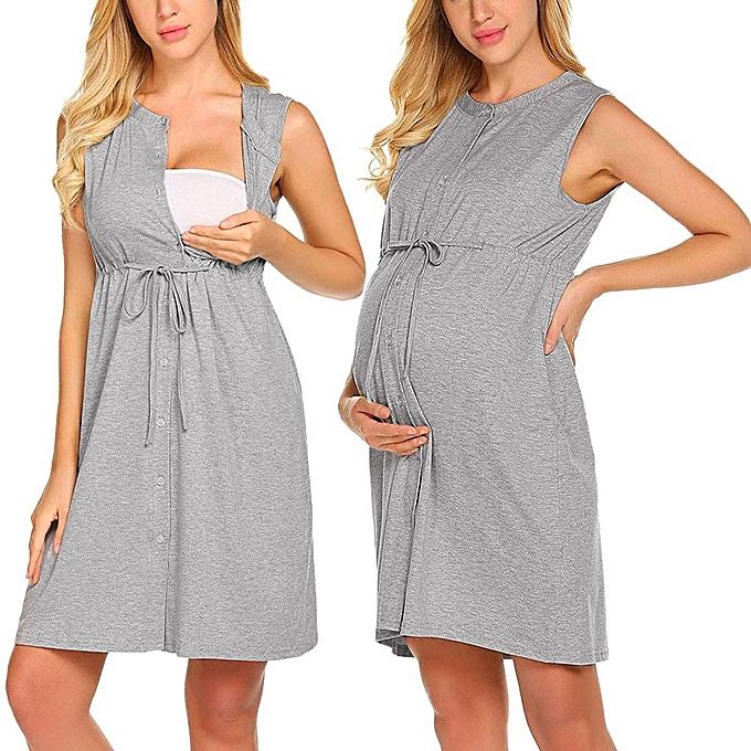 mode femmes Maternity Sleeveless Delivery Nursing   NightRobe Breastfeeding Robe à prix pas cher