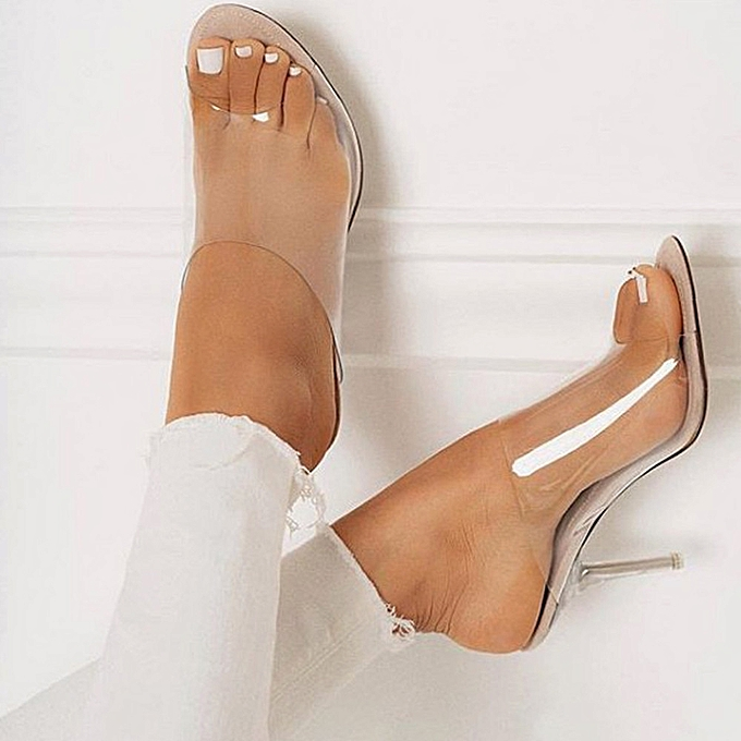 Fashion Fashion femmes Sandals Summer chaussures Party Crystal Transparent Hhigh Heel Slippers - à prix pas cher