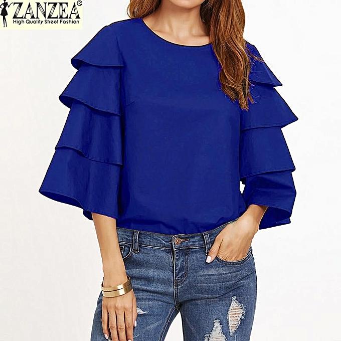 Fashion S-5XL ZANZEA OverTailled femmes O-Neck 3 4 Flouncing Ruffled Sleeve Shirt Tees Tops Summer Casual Party Blouse (bleu) à prix pas cher