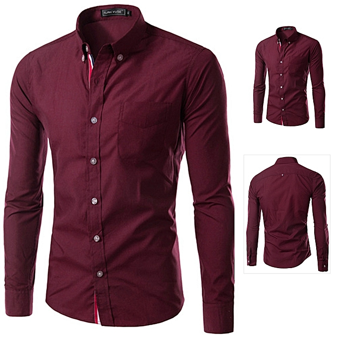 Other Men's Long Sleeve Ribbon Shirt Pure Couleur Workwear Business Suit-Wine rouge à prix pas cher