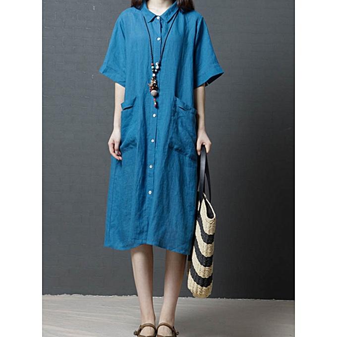 Fashion Ramie Solid Couleur Pocket Short Sleeve Shirts Dress à prix pas cher