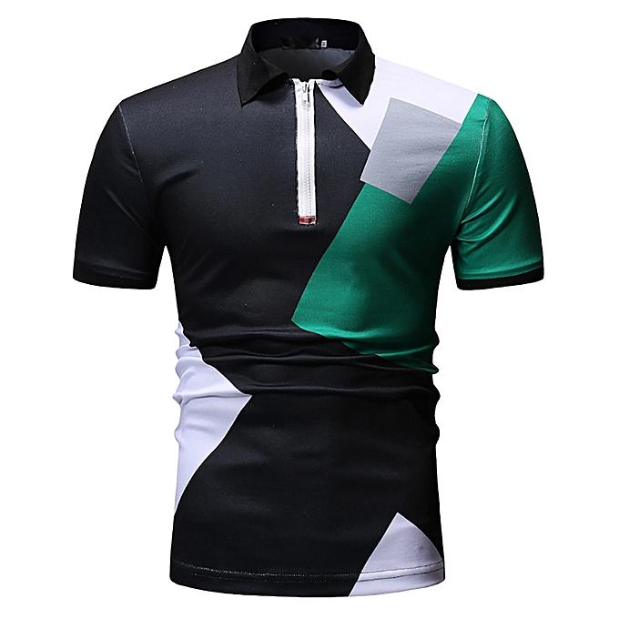 mode Hommes& 039;s patchwok Décontracté Slim Fit Shirts manche courte Stand Collar Shirt Top chemisier à prix pas cher