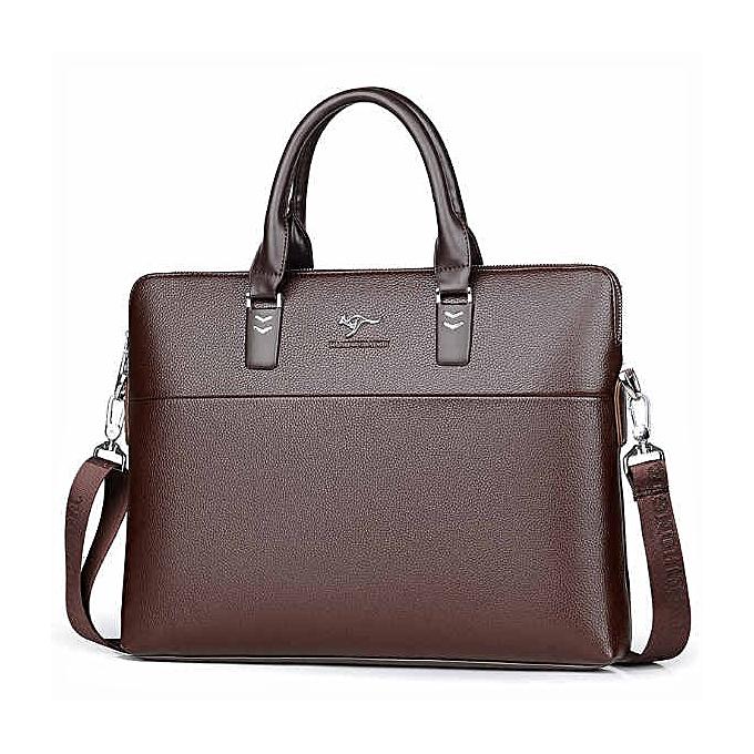 Other TIANHONGDAISHU Men Casual Briefcase Business Shoulder Leather Messenger Bags Computer Laptop Handbag Men's Travel Bags handbags(khiki) à prix pas cher