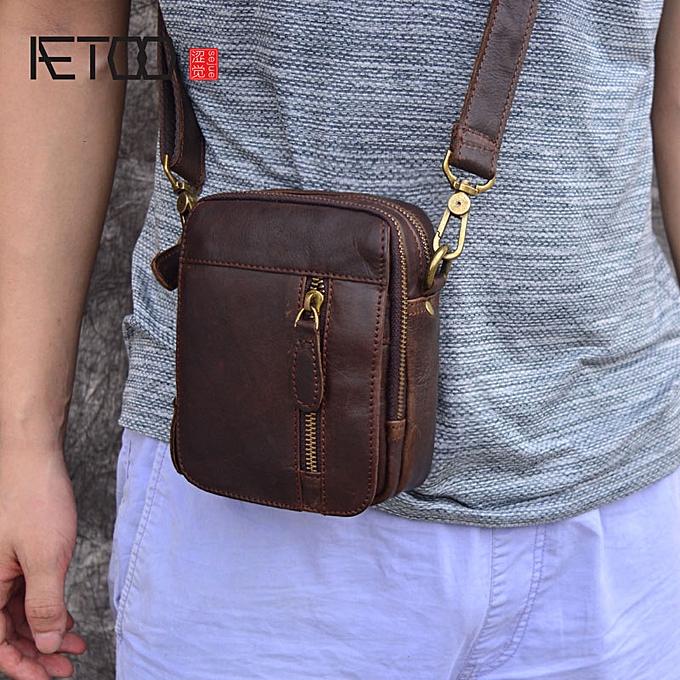 Other AETOO Décontracté sac cuir bourse shoulder sac mini sac hommes cuir petit hommes sac(Dark marron) à prix pas cher
